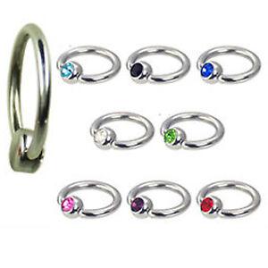 Piercing Ring 1,0mm Lippenbändchen 4mm Flatback Kugel Kristall