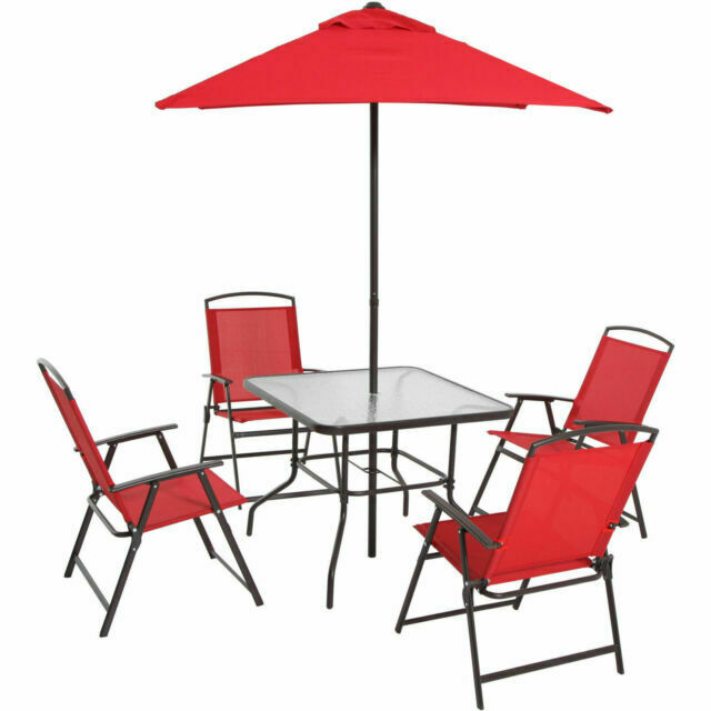 mainstays albany outdoor dining table with 4 chairs and umbrella red
