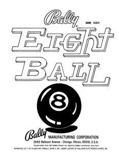 Eight 8 Ball Pinball Game Operations/Service/Repair Manual