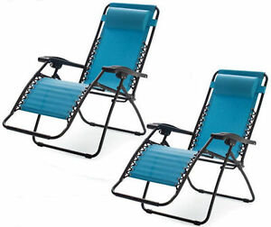 recliner lawn chairs folding vinyl blue zero gravity outdoor patio pool image is loading