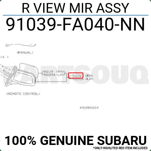 91039FA040NN Genuine Subaru R VIEW MIR ASSY 91039-FA040-NN