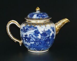 Antique Chinese Blue and White Porcelain Teapot with Fine Gilding 18th C QING