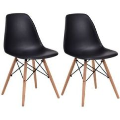 Black Plastic Chair With Wooden Legs Covers Northampton 2pc Set Armless Wood Dining Side Chairs Seat W Image Is Loading