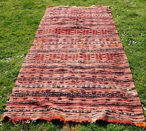 details sur rare ancien tapis kilim des regions du caucase pour corridor