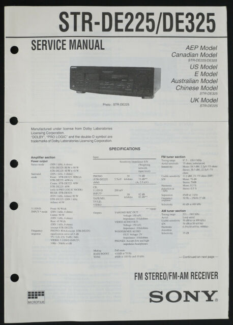 Sony STR-DE225/DE325 Original Receiver Service Manual