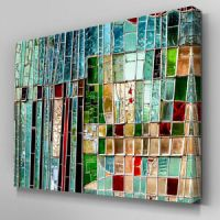 AB962 Modern green mosaic glass Canvas Wall Art Abstract