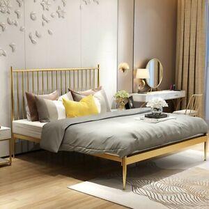 King Size Modern Metal Bed Frame Iron Bed Base Bedroom Furniture Gold Ebay