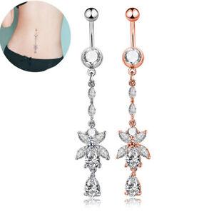 Rhinestone Body Piercing Dangle Crystal Navel Belly Button Bar Barbell Rings'