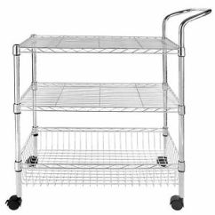 Kitchen Utility Carts Organizer 3 Tier Wire Rolling Cart Trolley Rack Food Service Image Is Loading