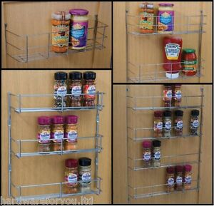 details about chrome multi purpose spice rack for kitchen cupboard door storage