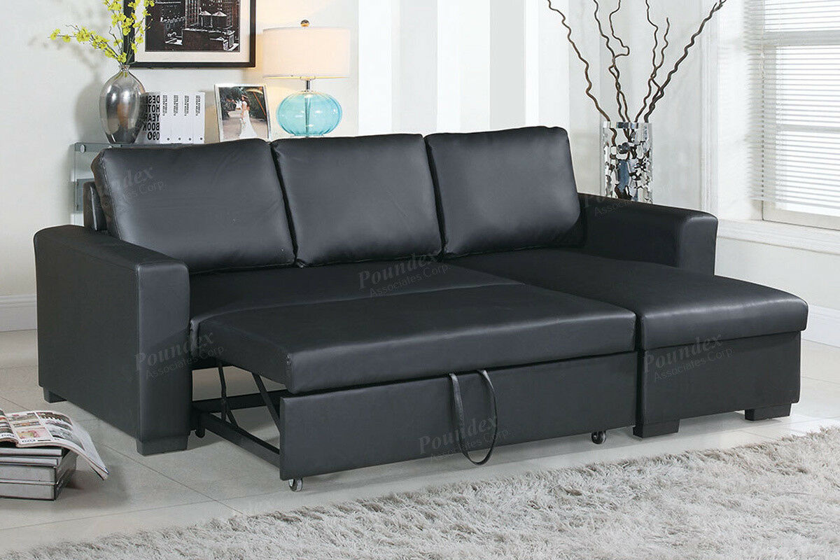 2pcs modern black faux leather sectional storage sofa set with pull out bed