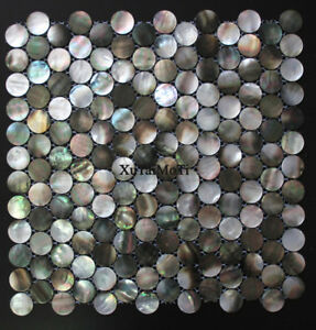 details about black lip shell mosaic tile mother of pearl kitchen bathroom penny round wall