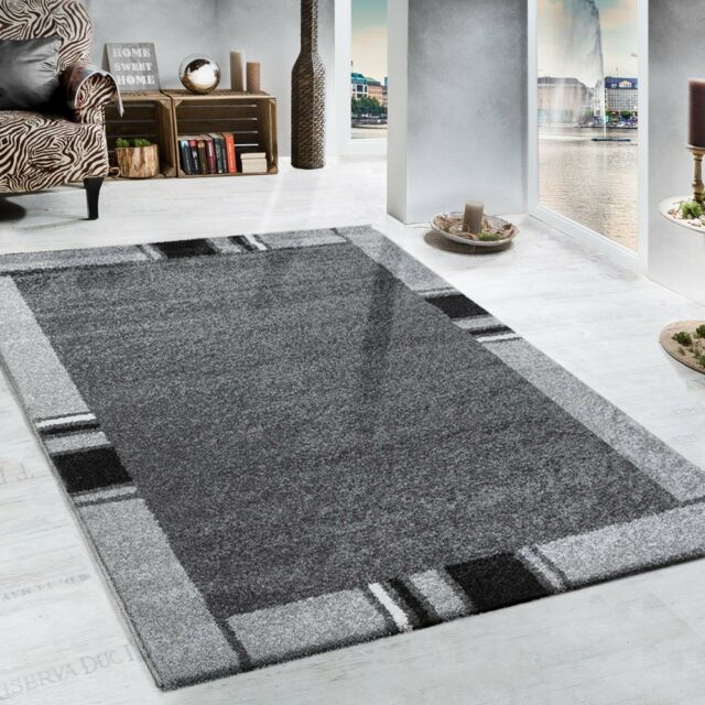 living room border images for traditional rooms modern grey rug design heavy woven carpet small large xl 120x170cm 4 x5 6 ebay