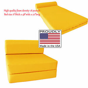 sleeper chair folding foam bed full size covers ebay canada 6 x 48 72 yellow density details about 1 8 lbs