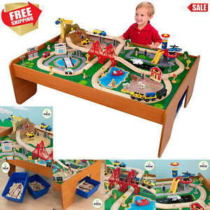 thomas the train table and chairs director chair covers kmart kidkraft 100 piece wooden set friends railway image is loading