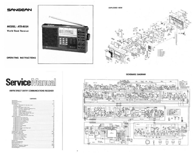 SANGEAN ATS-803A PHOTOCOPY OPERATING MANUAL + SERVICE