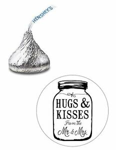 108 WEDDING HUGS & KISSES MASON JAR HERSHEY KISS KISSES