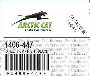 NEW OEM Arctic Cat 1406-447 DVX 400 Panel Trim-Rh-Black