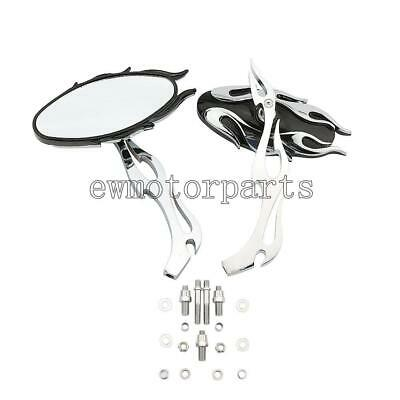 Chrome Flame Rearview Mirrors for Yamaha Road Star Warrior