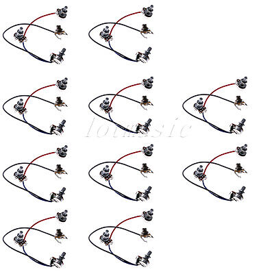 10 Pcs Guitar Wiring Harness With 3-500k Pots For Jazz