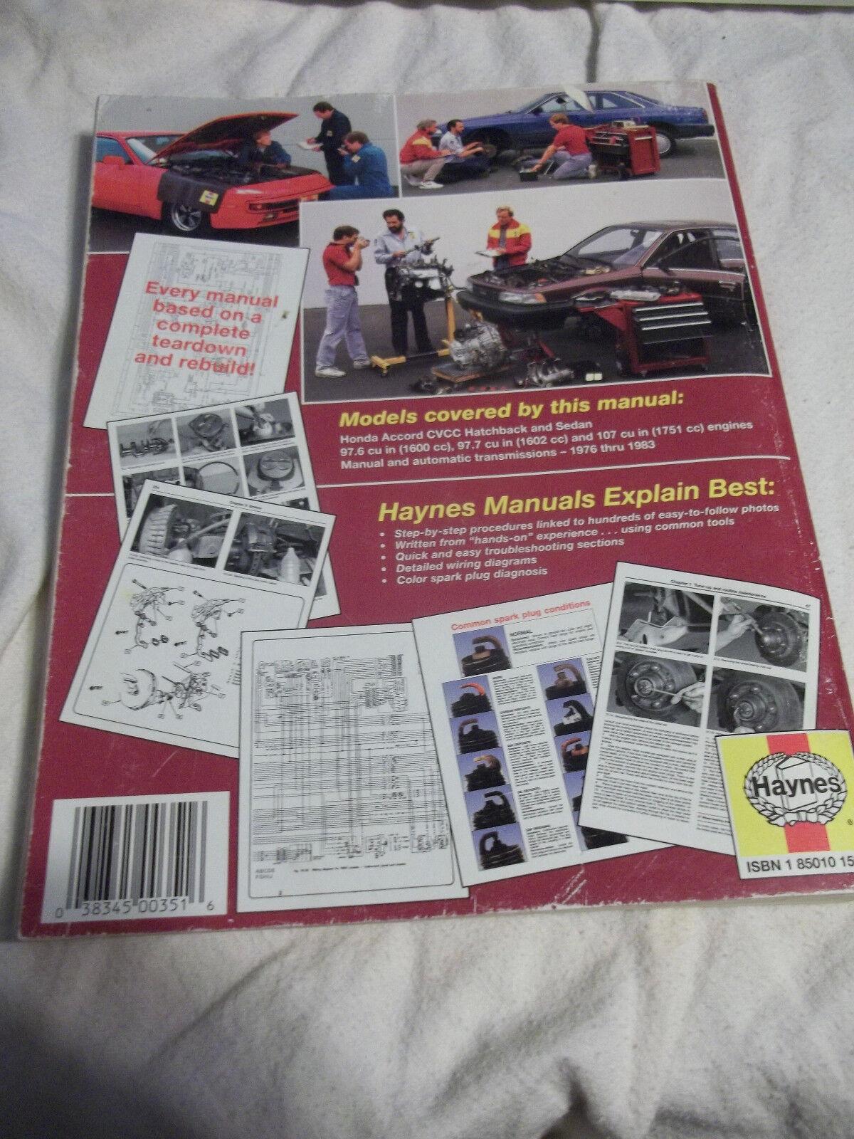 hight resolution of repair manual haynes 42010 fits 76 83 honda accord for sale online ebay