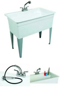 details about large utility tub sink floor mount pull out faucet no leaks dog baths laundry