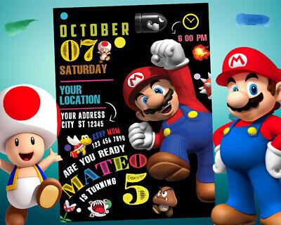super mario invitation for birthday party digital invite custom printable card ebay