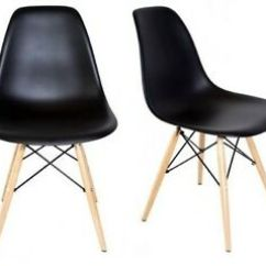 Eames Style Plastic Chair Linen Chairs Dining Dsw Molded Black Shell With Wood Eiffel Image Is Loading