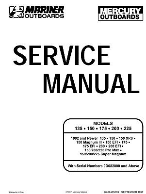 Mariner Mercury Service Manual 135 150 175 200 225 1992