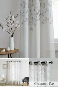 details about central park leaf floral print metallic sheer linen window curtain panel graytan