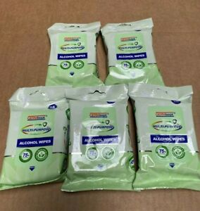 5 Pack Germisept Multipurpose 75% Alcohol Hand Sanitizing Wipes 15 Count each