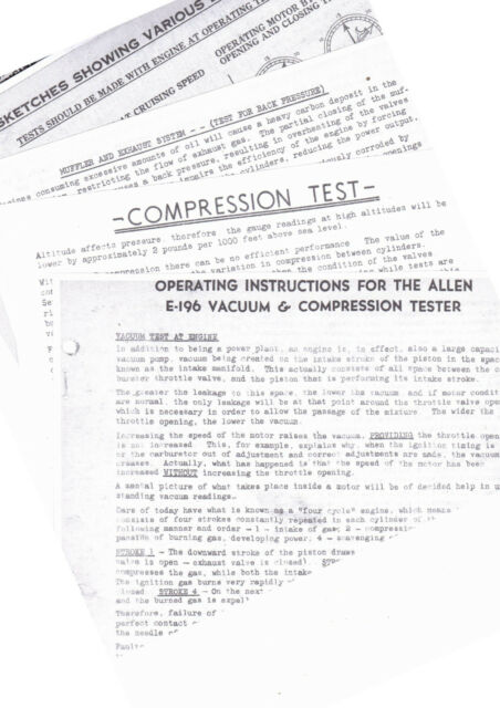 ALLEN E-196 VACUUM & COMPRESSION TESTER INSTRUCTION