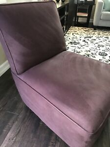 crate and barrel armless chair wheelchair emoji barrell microfiber ebay image is loading