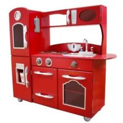 Retro Kids Kitchen Best Laminate Flooring For Teamson Wooden Play With Refrigerator Freezer Oven And Red