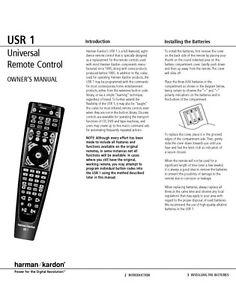 Harman Kardon USR1 Remote Control Owners Instruction