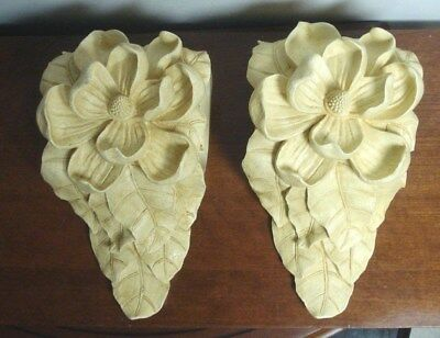 vtg drapery curtain rod wall sconce corbel magnolia flower resin swag holder ebay