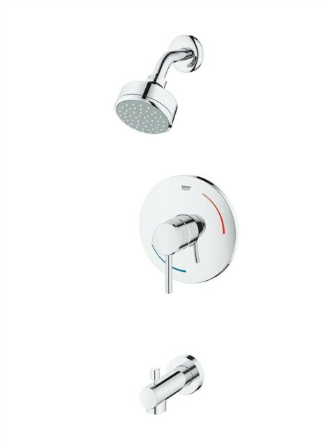 grohe 35073001 handle single spray tub and shower faucet in starlight chrome