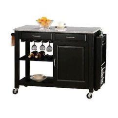 Granite Top Kitchen Cart Heavy Duty Chairs Coaster 5870 Island In Black Finish Ebay Stock Photo