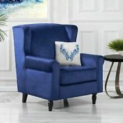 Fabric Accent Chairs Living Room Leather Chair Set Classic Scroll Arm Velvet Armchair With Navy