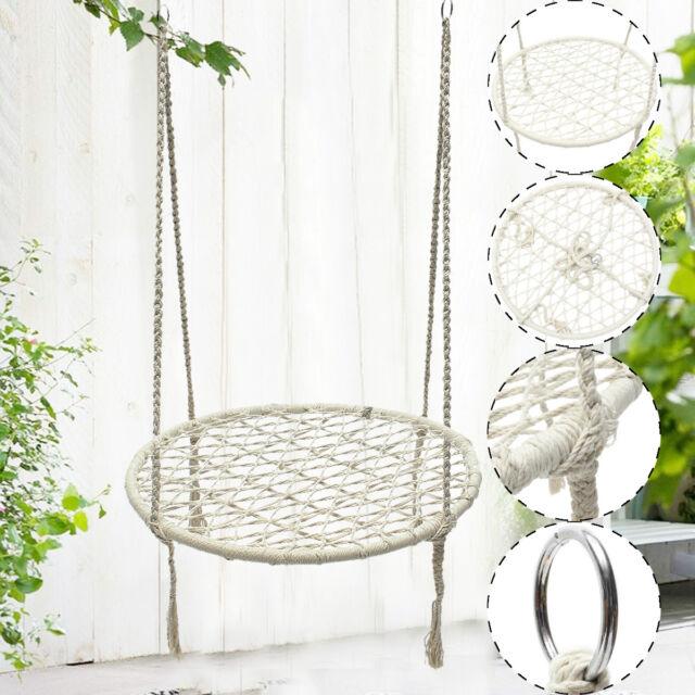 hanging chair swing big lots dining chairs white hammock morocco round macrame net rope handmade home