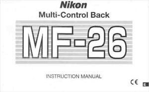 NIKON MF-26 MULTI-CONTROL BACK ORIGINAL INSTRUCTION MANUAL