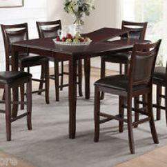 Table Height High Chair Circle Bungee Target 7pc Dining Set Counter Chairs Birch Veneer Image Is Loading