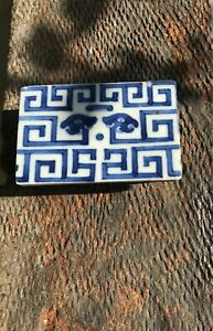 Chinese antique blue and white porcelain brush rest, proclaim brick with label