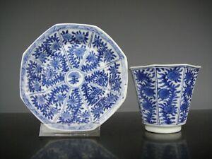Beautiful Chinese Porcelain B/W Kangxi Cup&Saucer-Flo