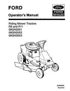 NEW HOLLAND SE4304 Ford R8 R11 Ride Mower OPERATORS MANUAL