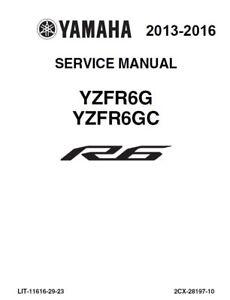 Yamaha R6 YZF YZFR6 2013 2014 2015 2016 service manual on