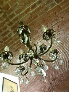Lampadario design multistrato in cristallo (cm 54). Anni 60 Lampadario 4 Braccia 8 Luci Usato A Gocce Cristallo Ebay