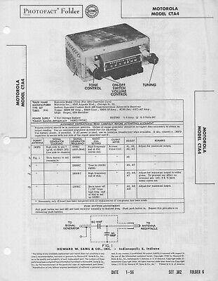 1956 MOTOROLA CTA4 AUTO CAR UNIVERSAL RADIO SERVICE MANUAL