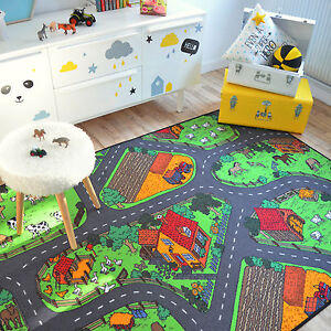 details sur tapis de jeux circuit voitures campagne 145x200 cm chambre enfant garcon fille