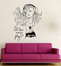 Teen Girl Music Headphones Room Decoration Wall Stickers ...